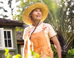 Woman gardener with hat, stock photo