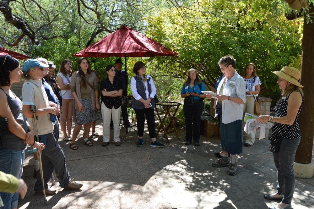 Carol Anderson and Laurie Richards prepare to lead the tour at the Tucson Botanical Gardens