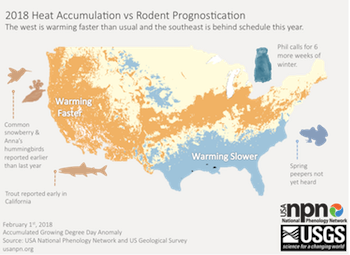 Signs of Spring Map Groundhog day 2018