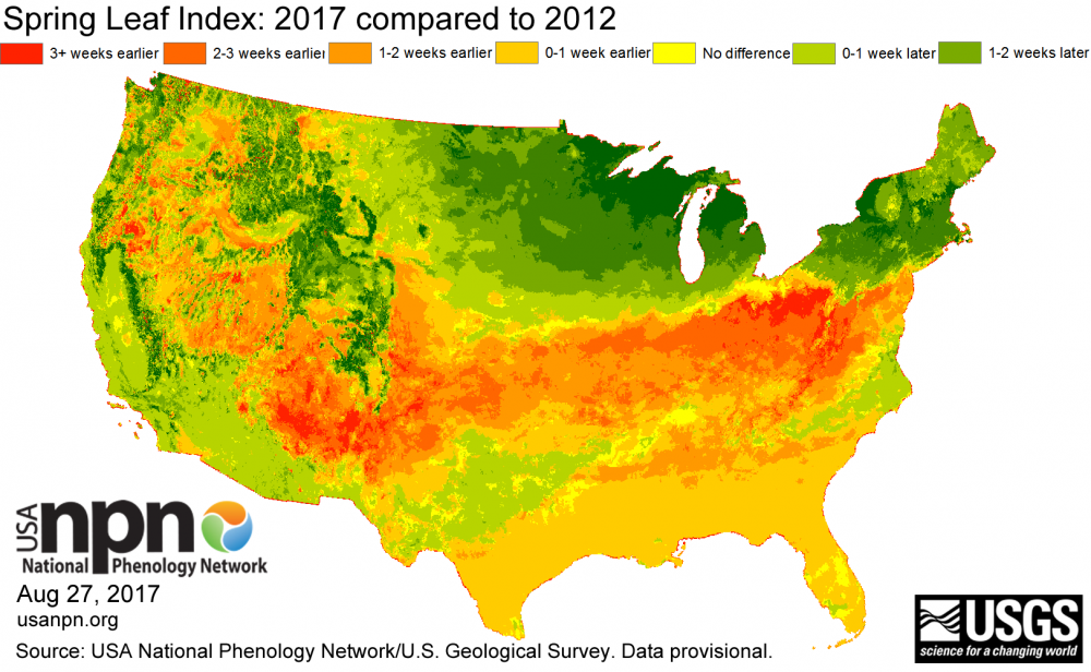 Leaf index for 2017 compared to 2012