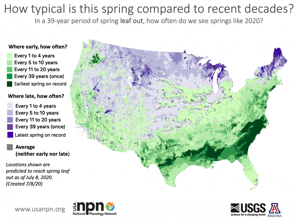 Map showing how often spring is this early or late.