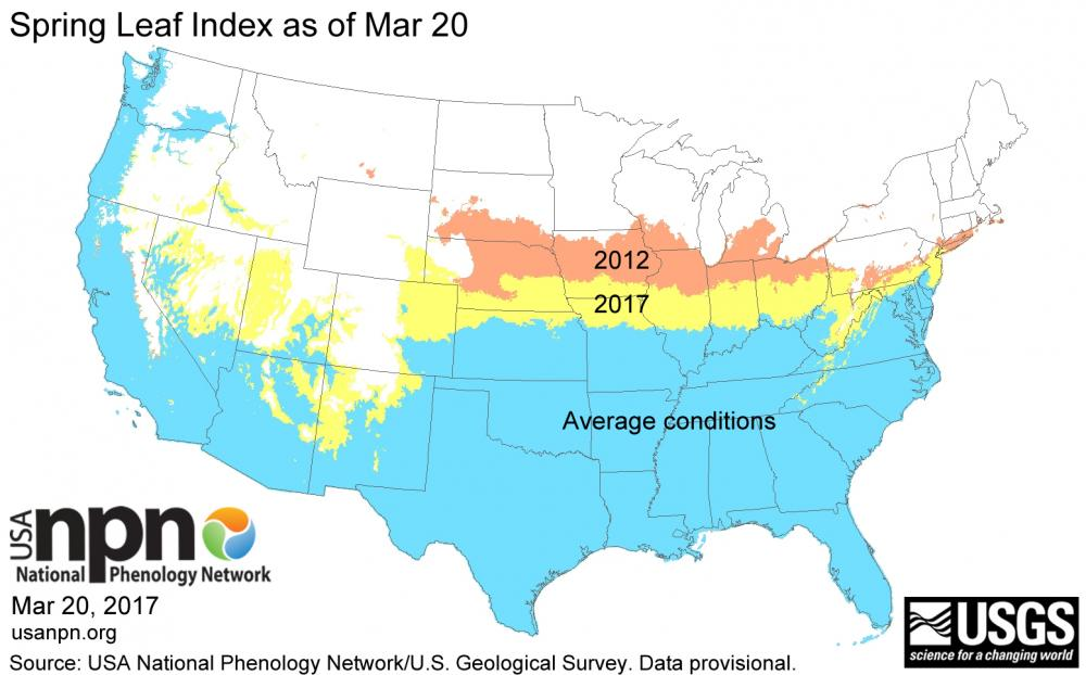 Spring leaf index Mar 20 2017 compared to 2012 and average