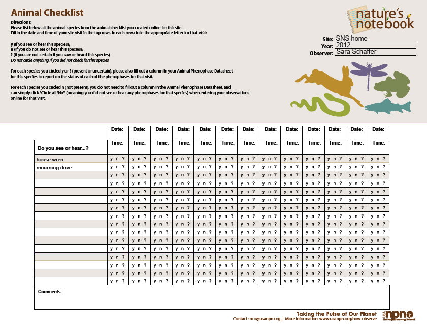 Sample Animal Checklist