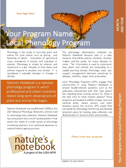 Nature\'s Notebook Local Phenology Program Infosheet Template ...
