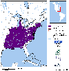Distribution map for species Anaxyrus fowleri