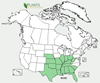 Distribution map for species Asclepias viridis