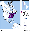 Distribution map for species Lithobates clamitans